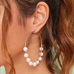 🌸Gold Pearl Hoop Charm Earrings